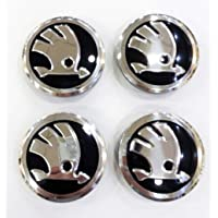 Smartfix 4 x 56 mm hub caps for Skoda black spare part hub caps for Skoda wheel caps wheel caps wheel caps wheel hub caps silver