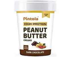 Pintola HIGH Protein Peanut Butter (Dark Chocolate) (Creamy, 1kg) | 30% Protein | High Fibre | NO Salt