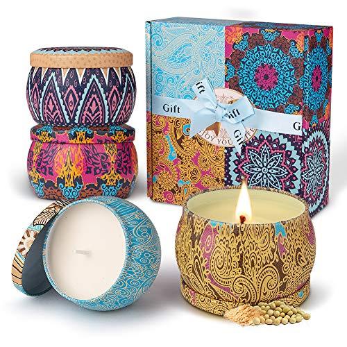 Duftkerze Set Aroma Kerzen 4 Stück Geschenkset, 100{986a687fd1979f091212a6294c1ace6483b9e1d622a15b9c68bb501f4678d2ad} Natürliches Sojawachs Kerze von Frühling frisch, Zitrone, Lavendel und Feigen Düfte, für Bad Geburtstag Yoga Jahrestag und Damen Geschenke