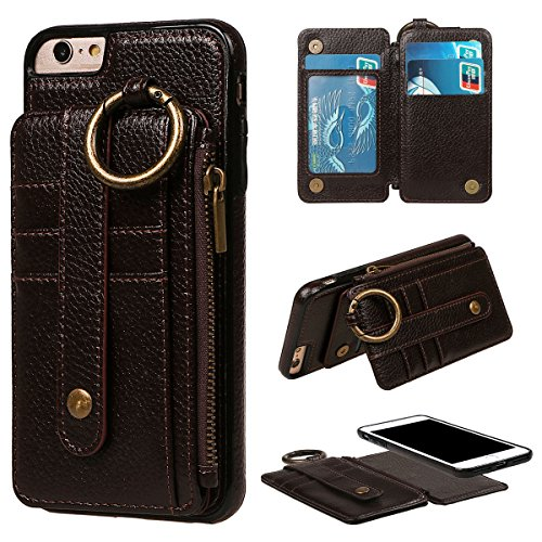 """xhorizon Erstklassiger weicher PU-Leder-magnetischer abnehmbarer Telefon-Kasten Tragetasche Geldbörse mit Kartensteckplätzen und Schlüsselanhänger Ring für iPhone 6 PLus / iPhone 6S Plus[5.5""""] Kaffee"""