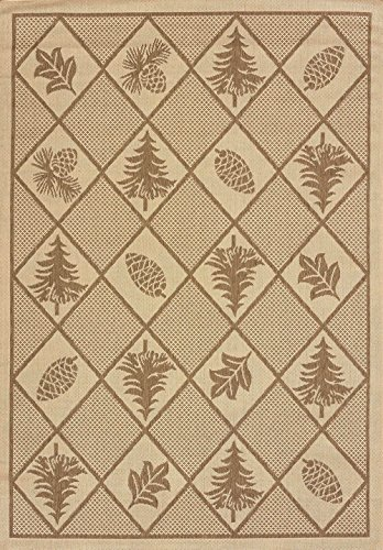 United Weavers of America, Inc. United Weavers of America Solarium Woven Pine Outdoor Area Rug, 7-Foot 10-Inch by 10-Foot 6-Inch, Brown