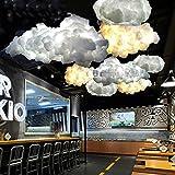 INJUICY Modernen LED Seide Wolken Pendelleuchte Baumwolle Hängelampe Deckenleuchte Kronleuchter Schlafzimmer Cafés Restaurants Wohnzimmer Kinderzimmer Küchenlampe (Durchmesser 500mm)