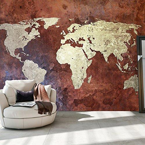 decomonkey | Fototapete Weltkarte Landkarte Kontinent 350x245 cm XXL | Tapete | Wandbild | Bild | Fototapeten | Tapeten | Wandtapete | Wanddeko | Wand Dekoration WandDekoration Gelb Braun Orange | FOA0014a73XL