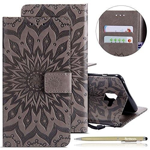 Herbests Hülle Samsung Galaxy S9 Plus Handyhülle Lederhülle Leder Flip Case Handy Schutzhülle Ledertasche Blumen Muster Klapphülle Wallet Cover Handytasche Kartenfach und Ständer,Grau