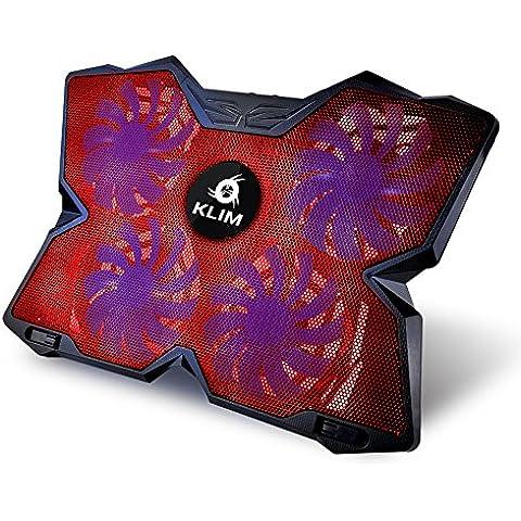 KLIM Wind Refrigeración para ordenador portátil – La más poderosa – Acción de enfriamiento rápido – Base refrigerante Gaming de 4 ventiladores con soporte (Rojo)