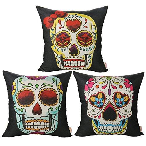 Luxbon 3 Funda CojIn Almohada Halloween Calavera Esqueleto Día...