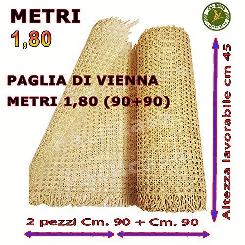Vendita paglia di vienna, prima qualita', tessuto in corteccia di giunco colore paglierino naturale, adatto a riparare sedie (180 cm - 2 pezzi 90 + 90)