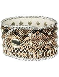 SilberDream Bracelet de Cuir en cuir de serpent regarde brune avec du métal déposé en zircone pierres, fermeture à pression, convient pour la circonférence du bras de 20,5cm pour les femmes LAP229B