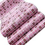 fayear 3m selbstklebend wasserdicht PVC Mosaik Grid Fliesenaufkleber Wandtattoo Wand Deko für Küche Badezimmer, rosa, AHGRD014413