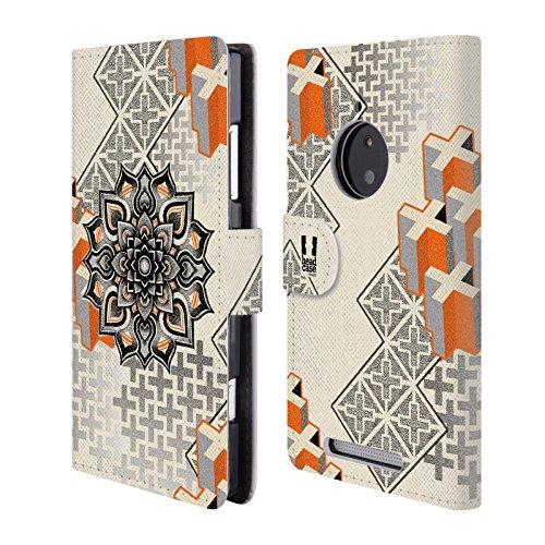 Head Case Designs Mandala E Croce Arte Puntiforme 2 Cover telefono a portafoglio in pelle per Nokia Lumia 830 - Croce Cucita Arte