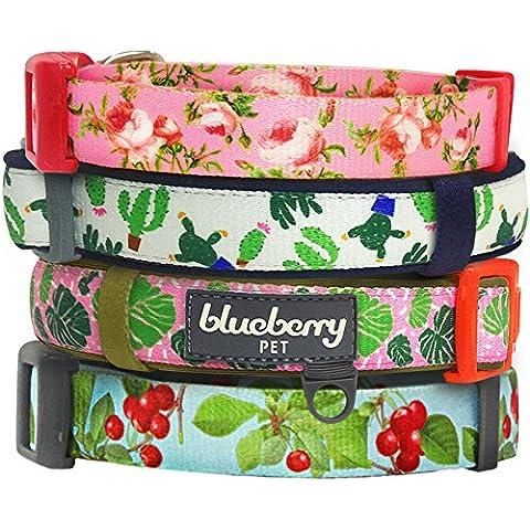 Blueberry colección Floral, mascota collar de perro con rojo Cherry, Rosa Rosa, Verde Cactus y palmera patrones