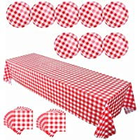 OurWarm desechables vajilla de rojo y blanco mantel a cuadros, platos, servilletas para Picnic granja fiesta de cumpleaños suministros desechables vajilla