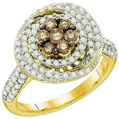 Bague Femme Diamants 0.99 ct 10 ct 471/1000 Or Jaune Rond Blanc & Cognac Diamants 1 ct