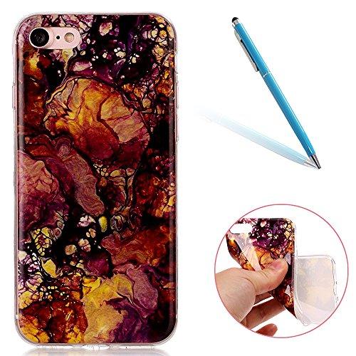 Cover per iPhone 8, CLTPY iPhone 7 Sottile Copertura in Silicone Morbido con Design Marmo Colorato Belle per Apple iPhone 7/8 + 1 x Stilo Libero - Gris Oro Viola