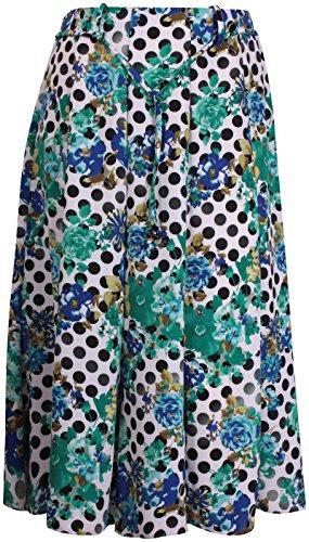 Damen Übergröße Blumenmuster Damen Stretch Hüfte Krawatte Gürtel Ausgestellt Einsatz Skater Midirock Königsblau & Grün