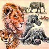 20 Servietten The big Five - Die größten Afrikas / Tiere / Löwe / Tiger / Elefant 33x33cm