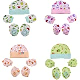 CUTEABLY® Newborn Baby Soft Cotton Caps Mittens and Booties (Multicolour) -Combo Pack of 4