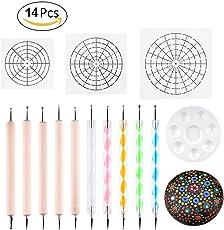 Dollerin Mandala Dotting Schablone Tools Ball Stylus Dotting Tools Include Schablone, Paint Tray, Pattern for Mandala Art Rock Painting, Kids Crafts, Nail Art (14 Pack)