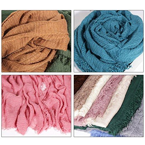 mioim Damen Muslim Islamischen Hanfstoff Kopftuch Schal Kopfbedeckungen Einfarbig in vielen Farbe 180x95cm - 5