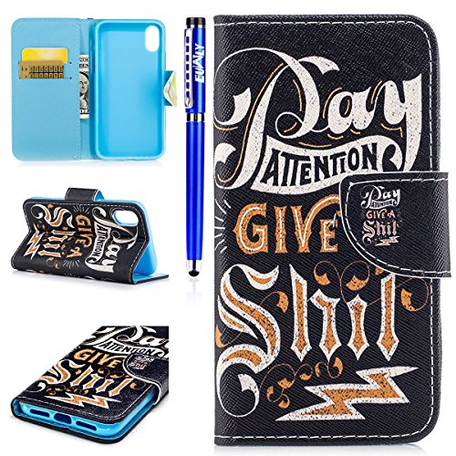 EUWLY Custodia per iPhone X,Cover per iPhone X,EUWLY Custodia Cover in PU Pelle Flip Stand Folio Protettiva PU Leather Portafoglio Shell Protettivi Bumper Cover Custodia Chiusura Magnetica e Porta Car Simboli Testo