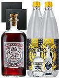 Gin-Set Monkey 47 SLOE GIN Schwarzwald Dry Gin 0,5 Liter + The Duke München Dry Gin 5 cl + Citadelle Gin aus Frankreich 5 cl + 2 x Thomas Henry Tonic Water 1,0 Liter + 2 Schieferuntersetzer quadratisch 9,5 cm