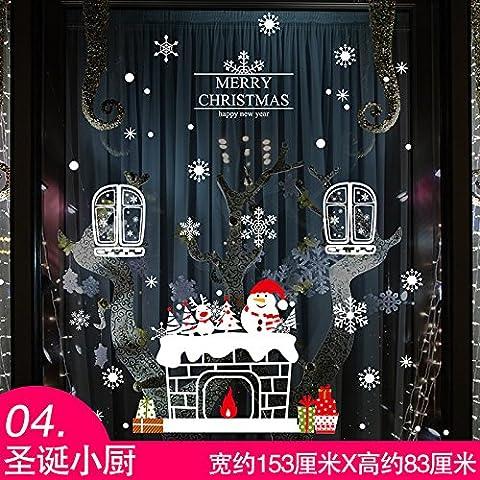 La Navidad Es Una Pegatina Animación Snowman Tiendas Vitrina De Vidrio Cristal Decorativo Para Pasar El Año Nuevo Chimenea ,1.153*83Cm Snowflake Bell