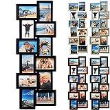 12 Fotos Collage Bilderrahmen #15, Kunststoff Rahmen, Glas Vorderseite, zum Hängen im Querformat und Hochformat, 4 Farben (BR9724 Schwarz)