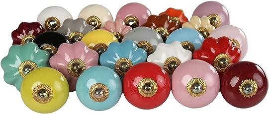 RAJRANG Ceramic Door Knobs Drawer Pull Handle Kitchen Hardware Dresser Drawers Cabinets (Multicolour) - Set of 25
