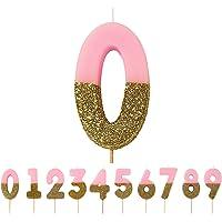 "Talking Tables Glitter-Zahlenkerze (0), pink, H 7 x B 4 cm Mehrfarbig 2 x 5.2 x 13.8 cm, ""height 8cm, 3"""""", BDAY-CANDLE…"