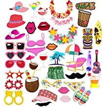 Veewon Luau photo booth puntelli hawaiano Photobooth puntelli per addio al nubilato bikini Style hula Dance 44Piece kit fai da te per Tropical Summer festival Beach Pool party