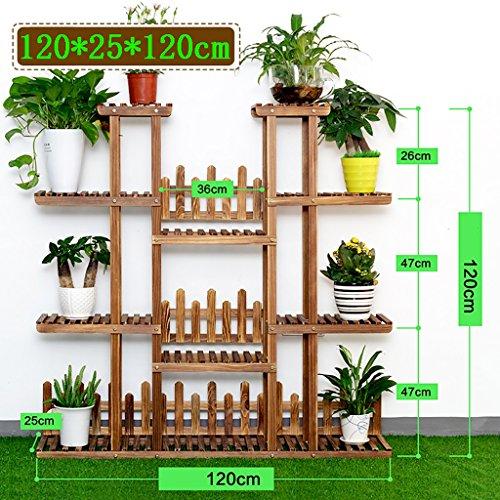 Stand De Fleurs Support de fleur de salon en bois, pièce d'angle de support de plancher de coin de multicouche de coin, taille: 120 * 25 * 120cm (Couleur : Marron)
