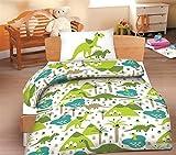 Baumwolle Biber Kinderbettwäsche Dinosaurier 100x135 cm , Kinder Bettwäsche, Babybettwäsche