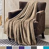 Flannel Fleece Throw Blanket Travel/Single Size Camel Warm Blankets - Plush Bed Throw