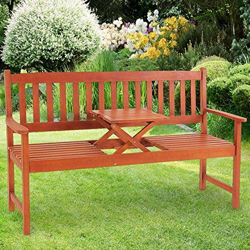 Gartenbank Picknick Tisch  FSC-zertifiziertes Eukalyptusholz  inkl. hochklappbarem Tisch  In- +Outdoor  Robust - Holzbank Gartenmöbel Sitzbank Garten Bank