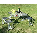 Portable Folding Camping Picnic Table Party Field Kitchen Outdoor Garden BBQ Chairs Stools Set Aluminum