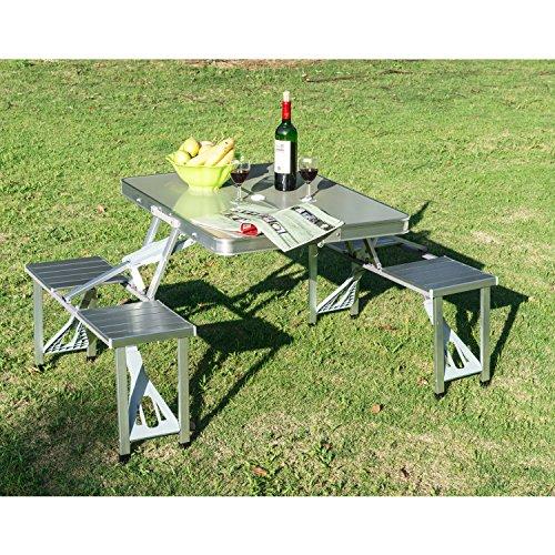 Mesa plegable Aluminio camping playa picnic 4 asientos y agujero para sombrilla