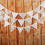 Amazingdeal365 12 PCS Flag Wimpelkette Hochzeit Vintage Herz Jute Bunting Banner für Deko und Fotografieren 3,2m (2)