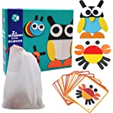 FI - FLICK IN Wooden Animal Puzzle Pattern Blocks with 20 Activity Cards Montessori Educational Learning Toy Game…