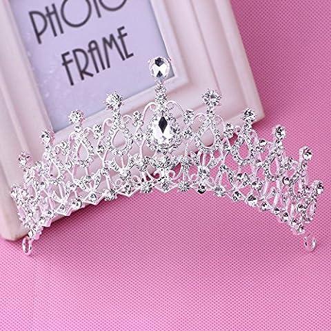 OUYANG Strass sposa corona orecchino collana set , crown + necklace + ear pin - Strass Floreali Collana Orecchini
