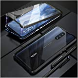 """Case for Oppo Reno 10X Zoom 6.6"""" Flip Cover Magnetic Adsorption Technology Metal Bumper Frame with Transparent Tempered Glass"""