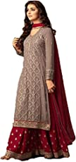 Monika Silk Mill Women's Latest Red & Grey Embroidered Sharara Style Festival wear Party wear Wedding Collection Anarkali Salwar Suit Dress materials