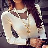 MIOIM® Damen Strickpulli Pullover Halsband Slim fit Langarm Pulli Sweatshirt Strickpullover Sweater -
