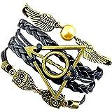 Mujer Pulseras, pulsera de cuero de PU con alas y búhos de snitch dorados, pulsera tejida, para hombres y mujeres, pulsera de