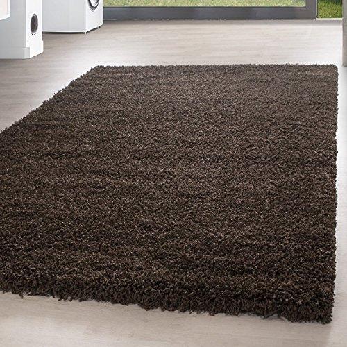 *Teppich* für Wohnzimmer günstig hochflor Shaggy Teppich mit verschiedenen Farben und Größen* Teppiche werden mit 100% PP Headset hergestellt. Gesamthöhe des Teppichs circa 30 mm. , Größe:60x110 cm, Farbe:Braun