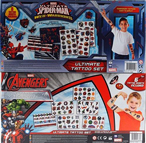 Image of Set Of 2 Kid's Ultimate Marvel Tattoos Kits - Spiderman And Avengers