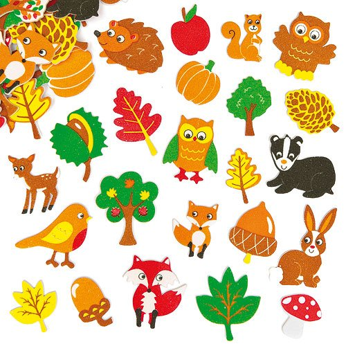 Moosgummi Aufkleber Waldtiere für Kinder zum Verzieren von Karten und Bastelprojekten (100 Stück)