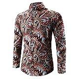 Männer Nner Hawaiihemd 3D Modernas Vintage T Print Lässig Shirt Langarm Tees Bluse Top Herbst Fashion Casual Shirt Hemden Oberteile (Color : Blau, Size : M)