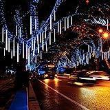 Jltech Meteor - Cadena de luces para lluvia y hielo con 8 tubos de 30 cm, 224 ledes impermeables para decoración de bodas, fiestas y Navidad (color blanco)