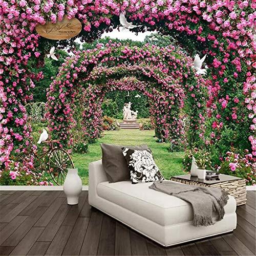 Individuelle Fototapeten Blume 3D Rose Kranz Wandbild Wohnzimmer Ehe Zimmer Wanddekoration Home Wandbild, 300 * 210 cm (Mediterrane-kranz)