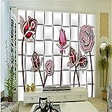 LHDLily 3D Tapete 3D Wallpaper Fresken Wandbilder Verdicken Schmuck Rose Blume Schmuck Hintergrund Parkettboden Tv Vertrag Große Tapeten Home Decor 200Cmx150Cm